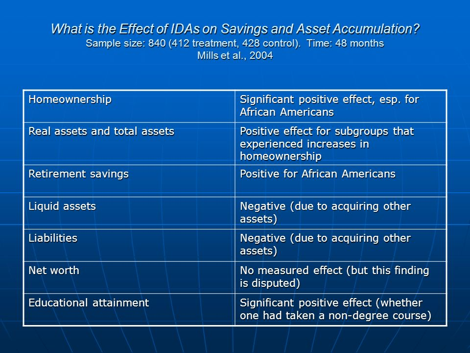 What is the Effect of IDAs on Savings and Asset Accumulation.