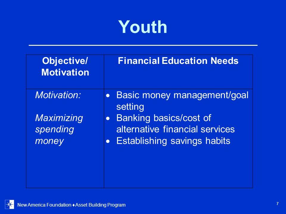 Youth New America Foundation Asset Building Program 7 Objective/ Motivation Financial Education Needs Motivation: Maximizing spending money Basic mone