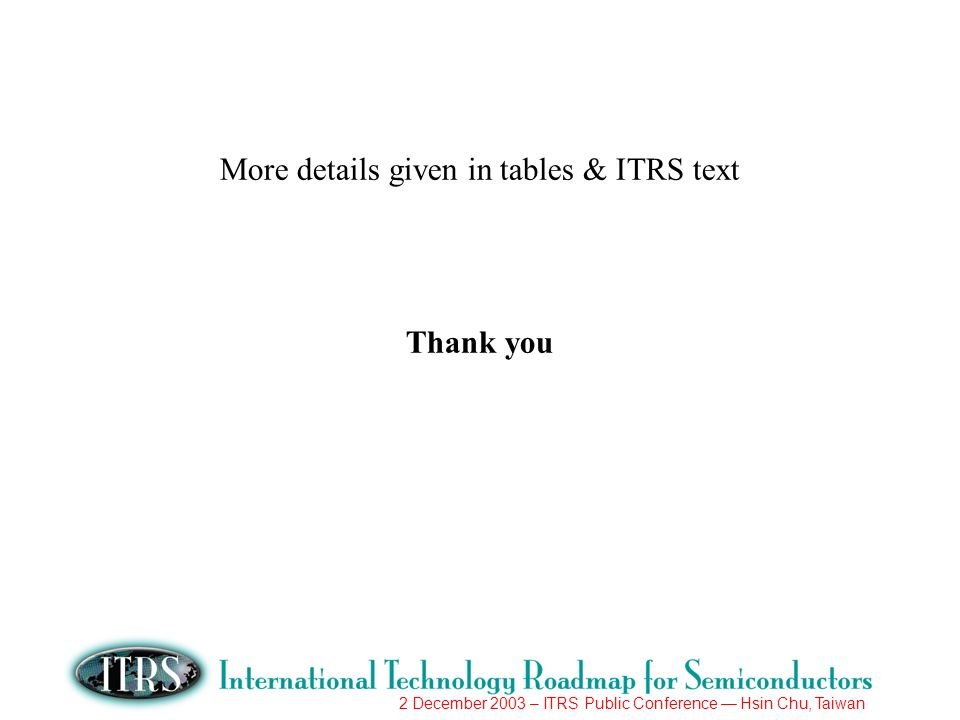 2 December 2003 – ITRS Public Conference Hsin Chu, Taiwan More details given in tables & ITRS text Thank you