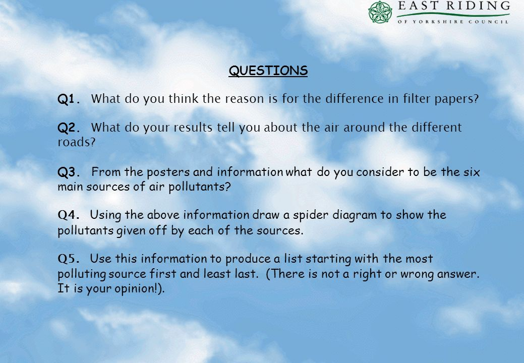 QUESTIONS Q1. What do you think the reason is for the difference in filter papers? Q2. What do your results tell you about the air around the differen