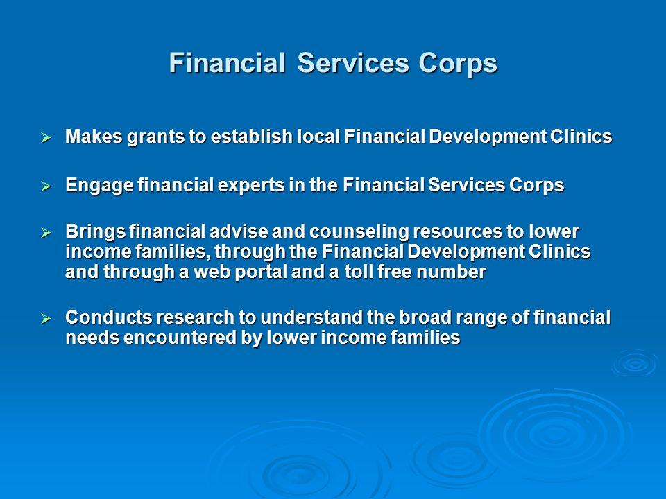 Financial Services Corps Makes grants to establish local Financial Development Clinics Makes grants to establish local Financial Development Clinics Engage financial experts in the Financial Services Corps Engage financial experts in the Financial Services Corps Brings financial advise and counseling resources to lower income families, through the Financial Development Clinics and through a web portal and a toll free number Brings financial advise and counseling resources to lower income families, through the Financial Development Clinics and through a web portal and a toll free number Conducts research to understand the broad range of financial needs encountered by lower income families Conducts research to understand the broad range of financial needs encountered by lower income families