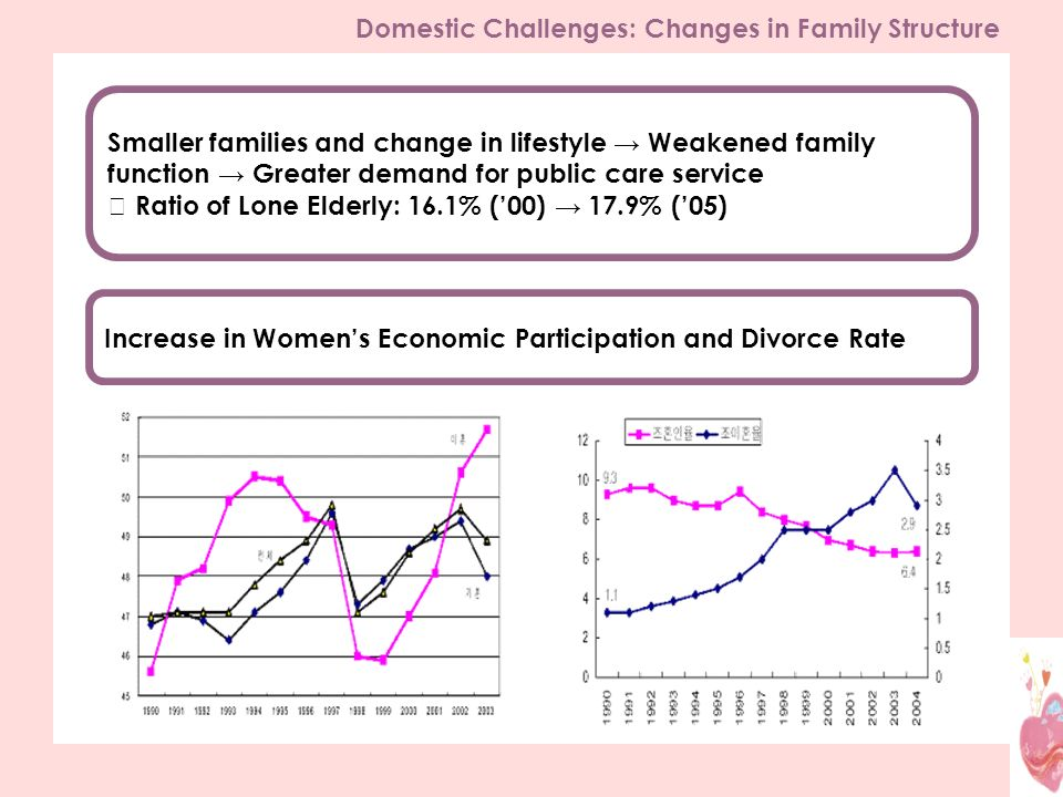 Increase in Womens Economic Participation and Divorce Rate Smaller families and change in lifestyle Weakened family function Greater demand for public care service Ratio of Lone Elderly: 16.1% (00) 17.9% (05) Domestic Challenges: Changes in Family Structure
