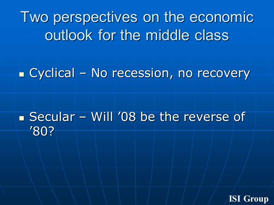 ISI Group Cyclical – No recession, no recovery Cyclical – No recession, no recovery Secular – Will 08 be the reverse of 80.