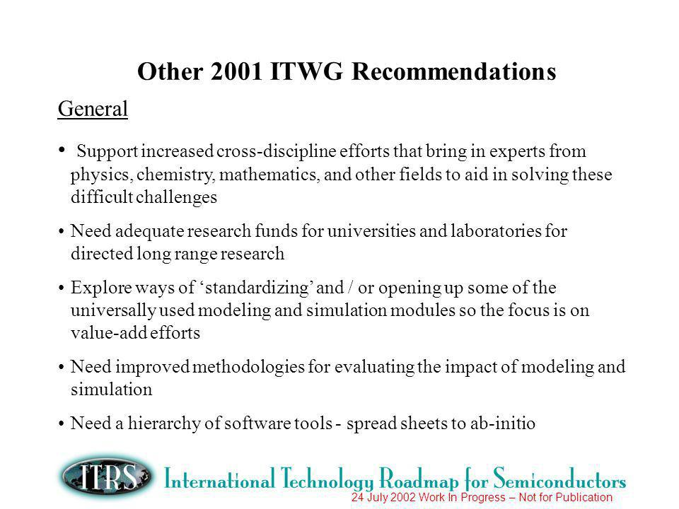24 July 2002 Work In Progress – Not for Publication Other 2001 ITWG Recommendations General Support increased cross-discipline efforts that bring in experts from physics, chemistry, mathematics, and other fields to aid in solving these difficult challenges Need adequate research funds for universities and laboratories for directed long range research Explore ways of standardizing and / or opening up some of the universally used modeling and simulation modules so the focus is on value-add efforts Need improved methodologies for evaluating the impact of modeling and simulation Need a hierarchy of software tools - spread sheets to ab-initio