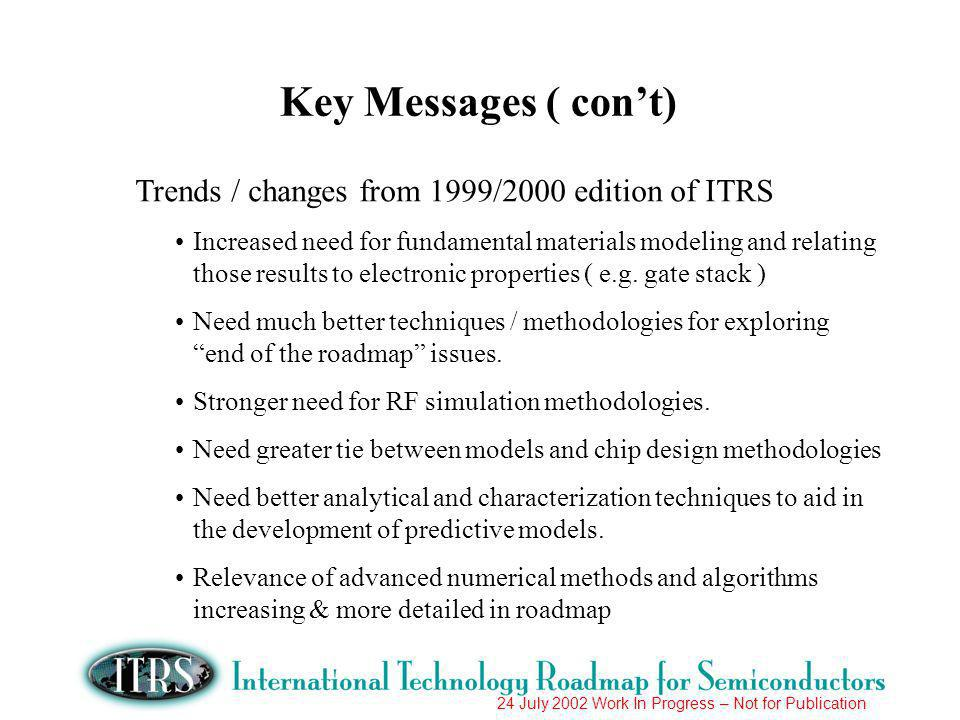 24 July 2002 Work In Progress – Not for Publication Trends / changes from 1999/2000 edition of ITRS Increased need for fundamental materials modeling and relating those results to electronic properties ( e.g.