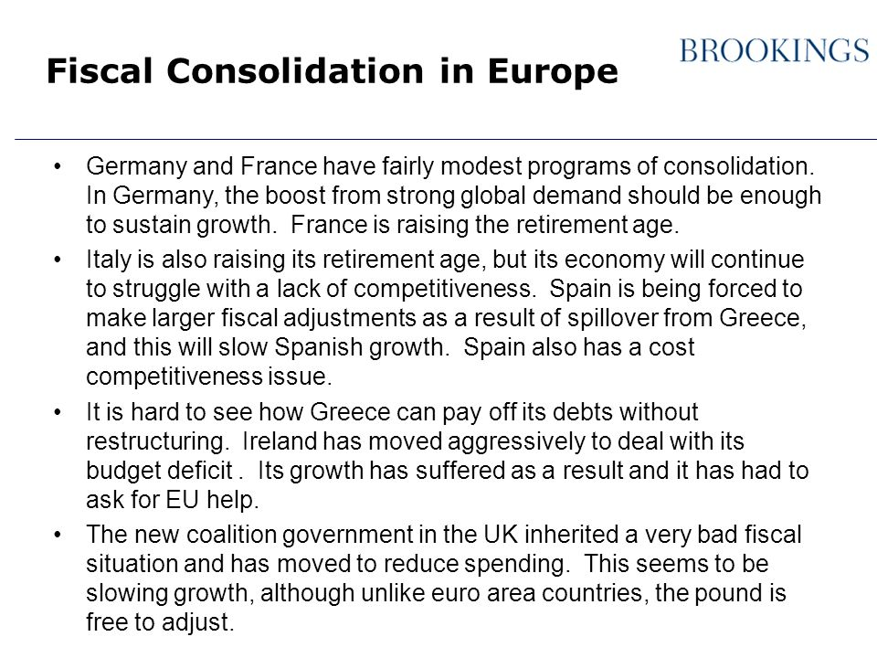 Fiscal Consolidation in Europe Germany and France have fairly modest programs of consolidation.