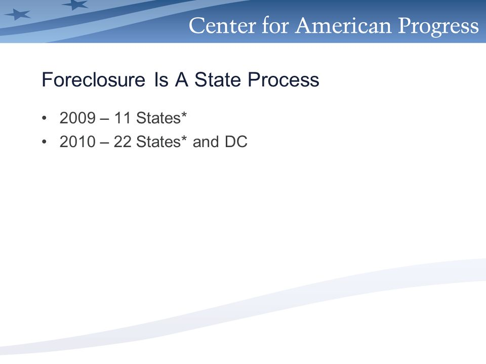 Foreclosure Is A State Process 2009 – 11 States* 2010 – 22 States* and DC