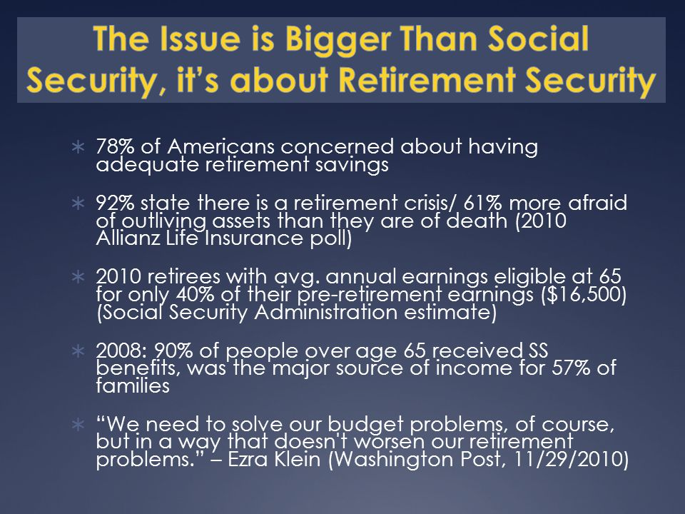 78% of Americans concerned about having adequate retirement savings 92% state there is a retirement crisis/ 61% more afraid of outliving assets than they are of death (2010 Allianz Life Insurance poll) 2010 retirees with avg.