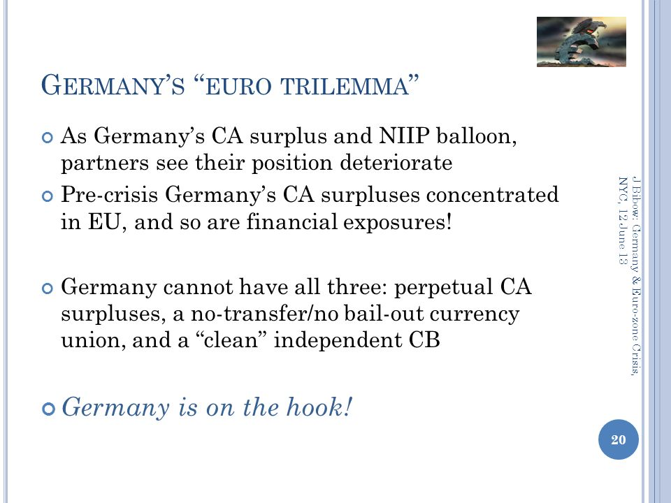 G ERMANY S EURO TRILEMMA As Germanys CA surplus and NIIP balloon, partners see their position deteriorate Pre-crisis Germanys CA surpluses concentrated in EU, and so are financial exposures.
