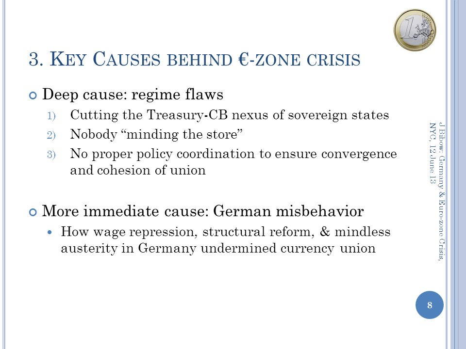 3. K EY C AUSES BEHIND - ZONE CRISIS Deep cause: regime flaws 1) Cutting the Treasury-CB nexus of sovereign states 2) Nobody minding the store 3) No p