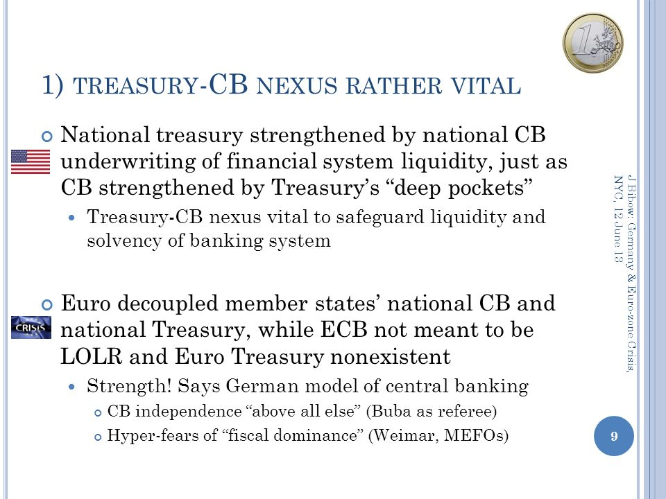 1) TREASURY -CB NEXUS RATHER VITAL National treasury strengthened by national CB underwriting of financial system liquidity, just as CB strengthened by Treasurys deep pockets Treasury-CB nexus vital to safeguard liquidity and solvency of banking system Euro decoupled member states national CB and national Treasury, while ECB not meant to be LOLR and Euro Treasury nonexistent Strength.