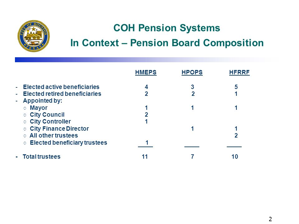 1 COH Pension Systems In Context - Overview 3 separate plans – civilians, police, firefighters, Administration of plans is outsourced to independent t