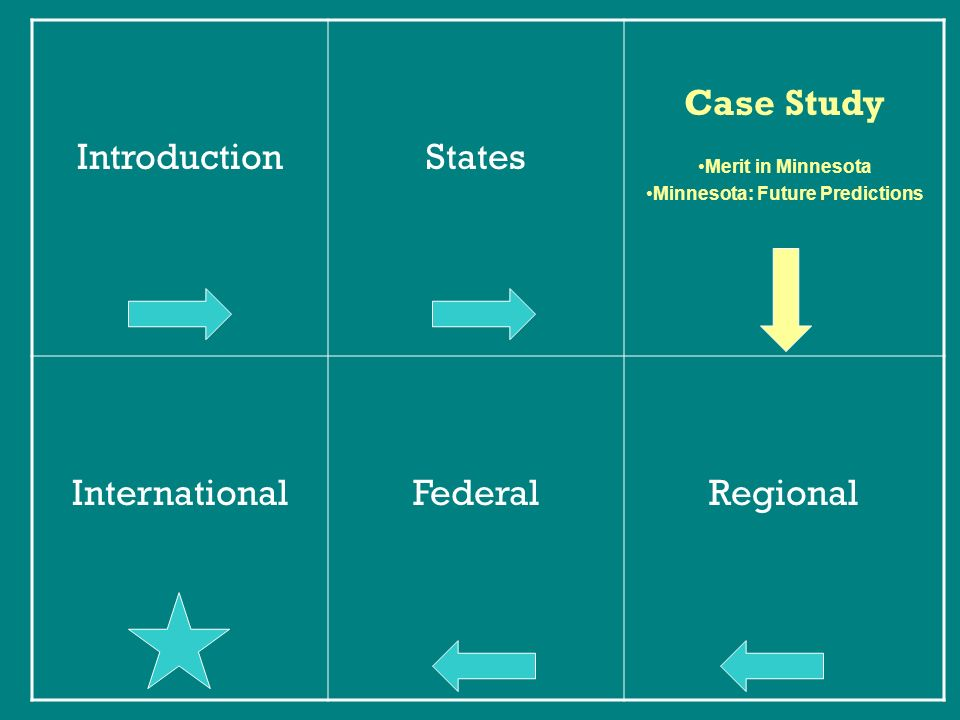 IntroductionStates Case Study Merit in Minnesota Minnesota: Future Predictions InternationalFederalRegional