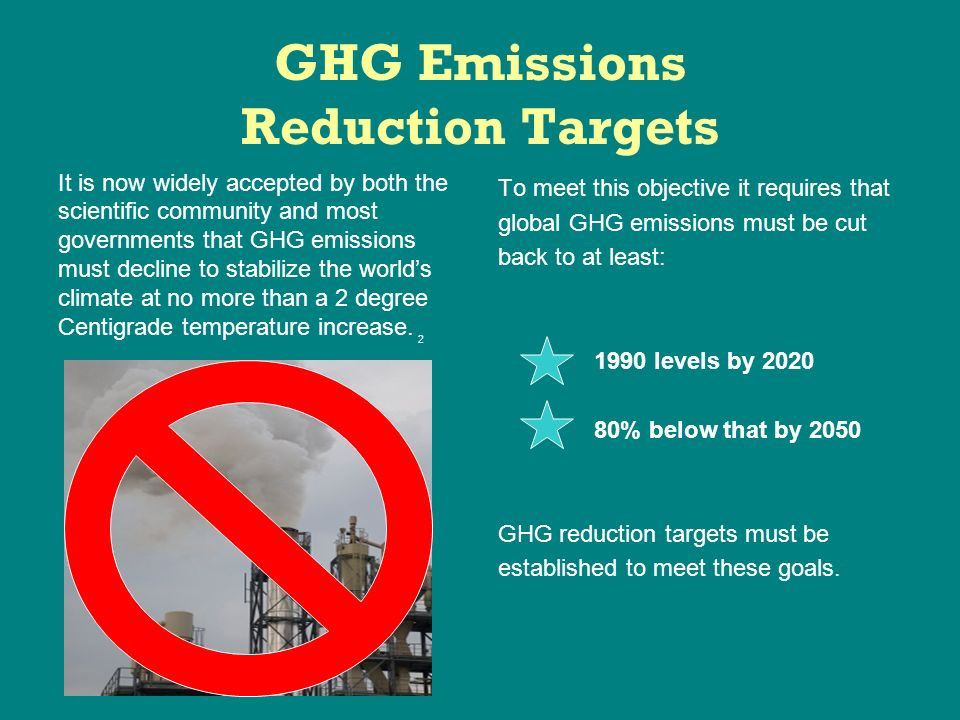 GHG Emissions Reduction Targets It is now widely accepted by both the scientific community and most governments that GHG emissions must decline to stabilize the worlds climate at no more than a 2 degree Centigrade temperature increase.