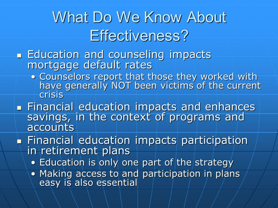 What Do We Know About Effectiveness.
