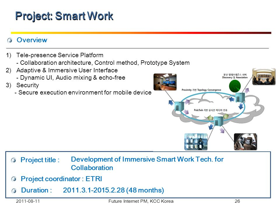 Overview Project title : Project coordinator : ETRI Duration : 2011.3.1-2015.2.28 (48 months) Development of Immersive Smart Work Tech. for Collaborat