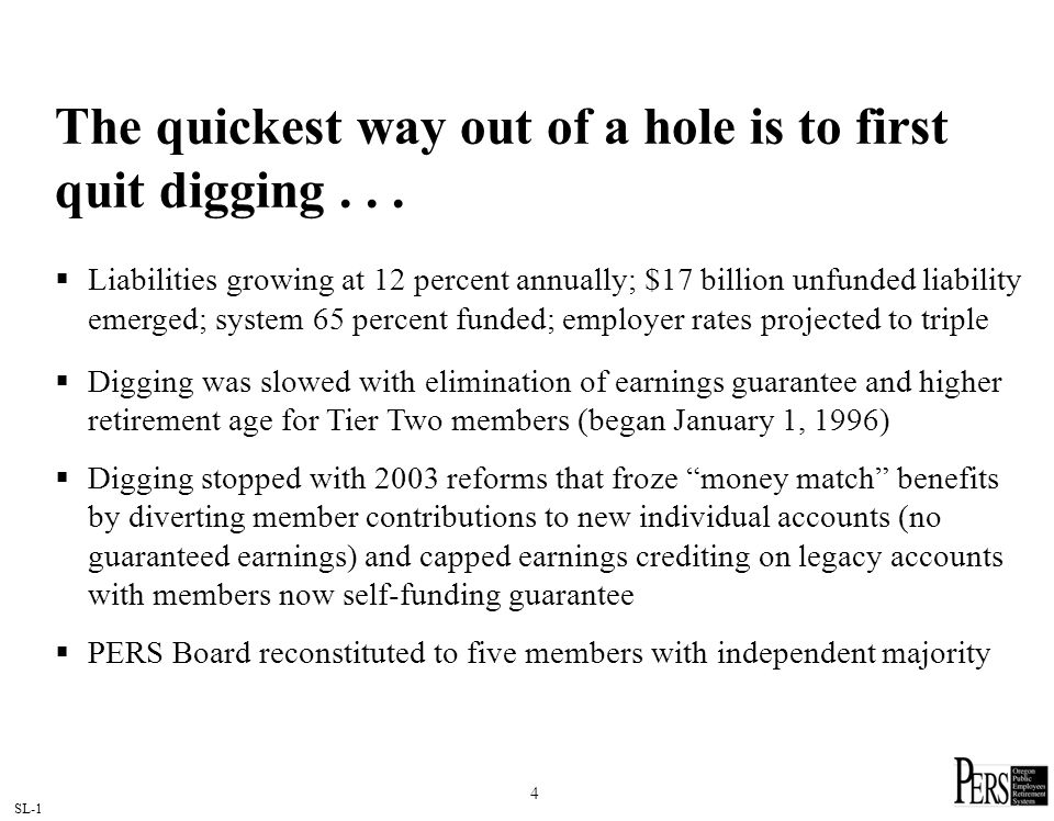 SL-1 4 The quickest way out of a hole is to first quit digging... Liabilities growing at 12 percent annually; $17 billion unfunded liability emerged;