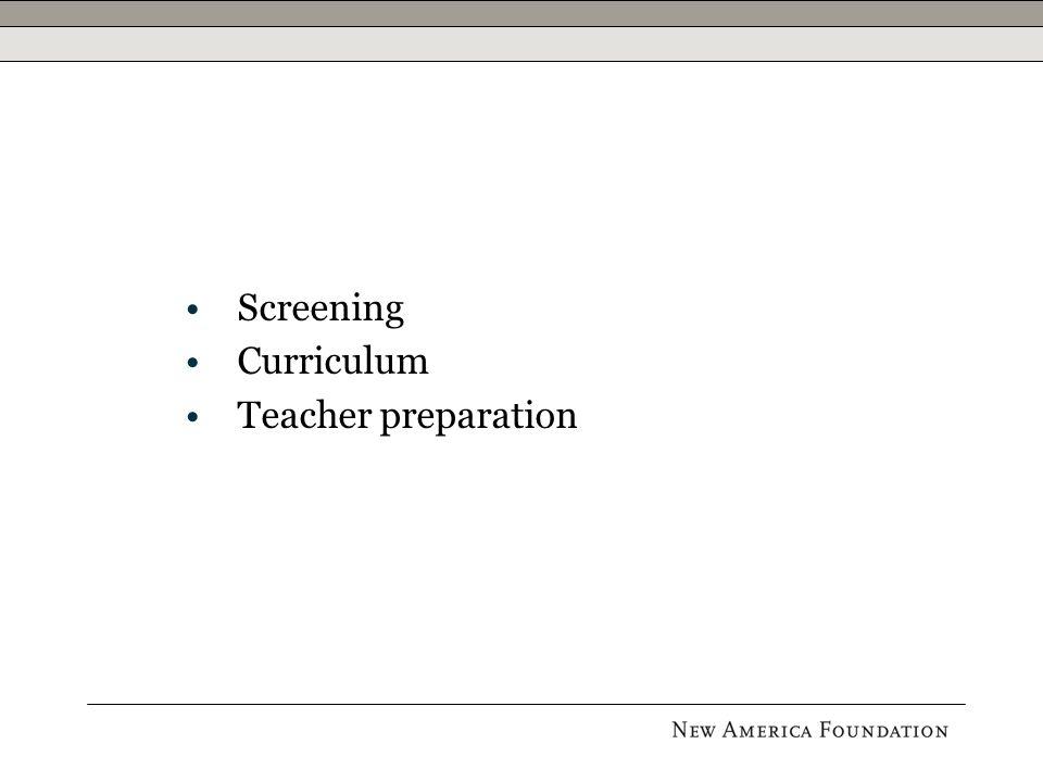 Screening Curriculum Teacher preparation