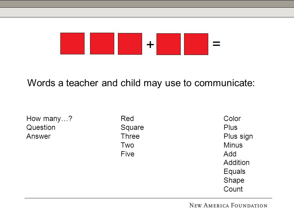 Color Plus Plus sign Minus Add Addition Equals Shape Count Red Square Three Two Five Words a teacher and child may use to communicate: How many….
