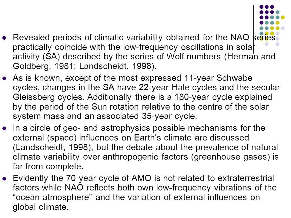 Revealed periods of climatic variability obtained for the NAO series practically coincide with the low-frequency oscillations in solar activity (SA) d