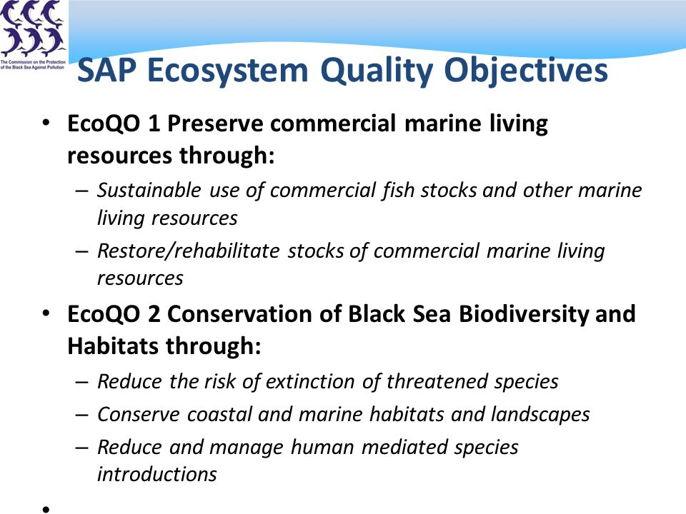 SAP Ecosystem Quality Objectives EcoQO 1 Preserve commercial marine living resources through: – Sustainable use of commercial fish stocks and other marine living resources – Restore/rehabilitate stocks of commercial marine living resources EcoQO 2 Conservation of Black Sea Biodiversity and Habitats through: – Reduce the risk of extinction of threatened species – Conserve coastal and marine habitats and landscapes – Reduce and manage human mediated species introductions EcoQO 3 Reduce eutrophication through: Reduce nutrients originating from land based sources, including atmospheric emissions.
