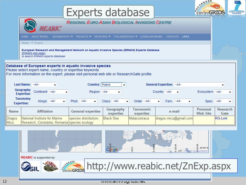 12 www.envirogrids.net http://www.reabic.net/ZnExp.aspx Experts database