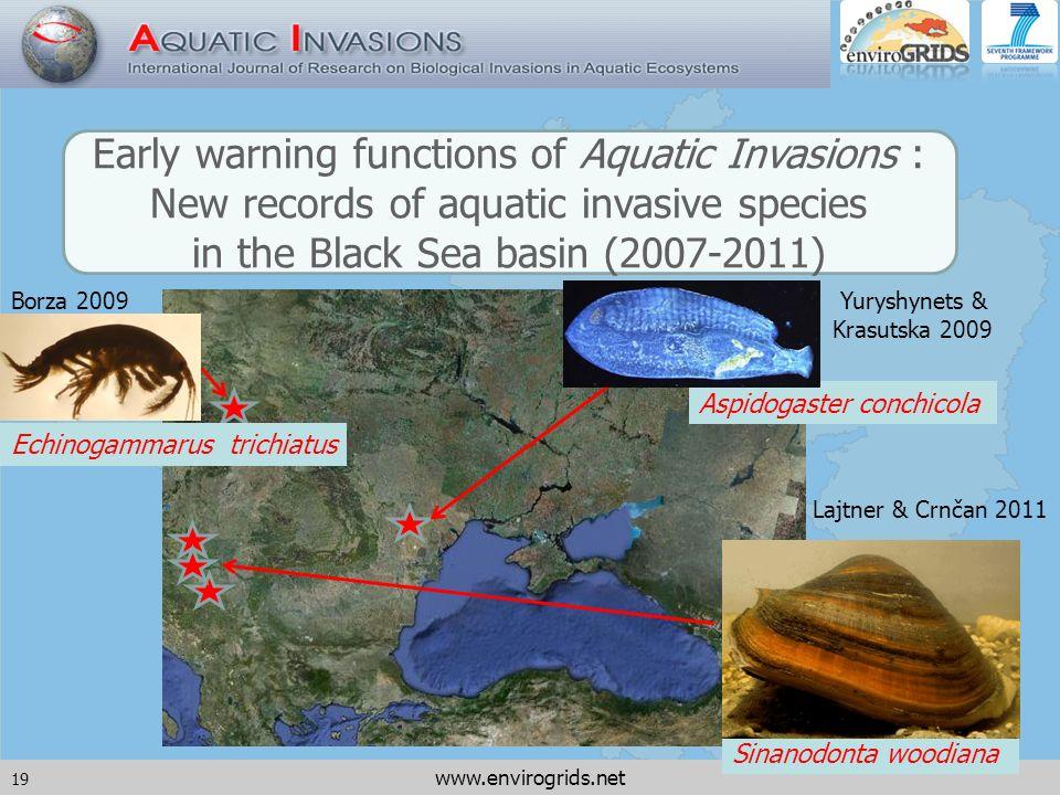 19 www.envirogrids.net Sinanodonta woodiana Echinogammarus trichiatus Aspidogaster conchicola Early warning functions of Aquatic Invasions : New records of aquatic invasive species in the Black Sea basin (2007-2011) Yuryshynets & Krasutska 2009 Lajtner & Crnčan 2011 Borza 2009