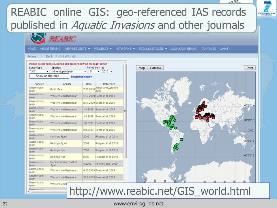 22 www.envirogrids.net http://www.reabic.net/GIS_world.html REABIC online GIS: geo-referenced IAS records published in Aquatic Invasions and other journals