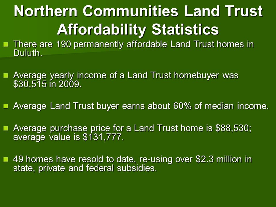 Northern Communities Land Trust Affordability Statistics There are 190 permanently affordable Land Trust homes in Duluth. There are 190 permanently af