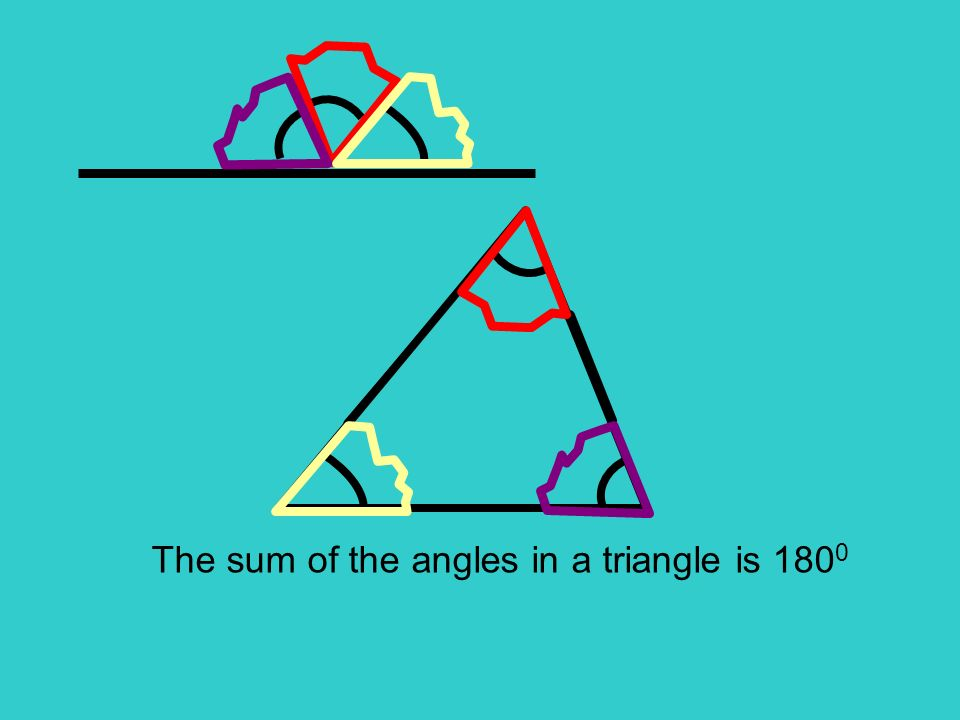 The sum of the angles in a triangle is 180 0