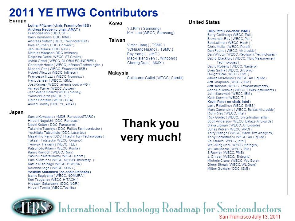 6 San Francisco July 13, 2011 2011 YE ITWG Contributors Europe Lothar Pfitzner ( chair, Fraunhofer IISB ) Andreas Neuber (c-chair, AMAT ) Francois Fin