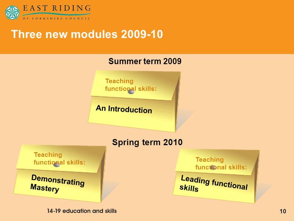 10 Three new modules 2009-10 Summer term 2009 Teaching functional skills: Demonstrating Mastery Leading functional skills Spring term 2010 Teaching fu