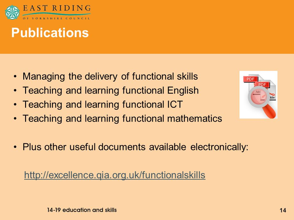 14 Publications Managing the delivery of functional skills Teaching and learning functional English Teaching and learning functional ICT Teaching and