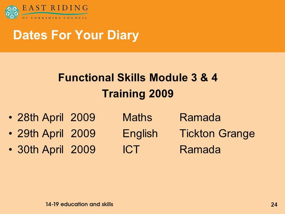 24 Functional Skills Module 3 & 4 Training 2009 28th April 2009 Maths Ramada 29th April 2009 English Tickton Grange 30th April 2009 ICT Ramada Dates F