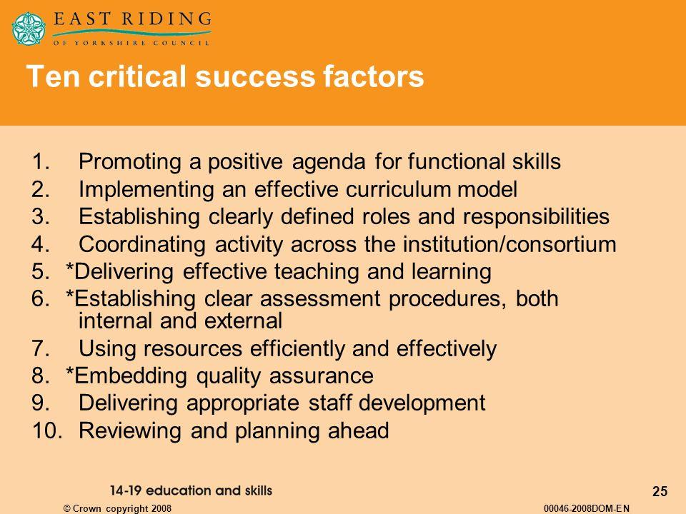 25 Ten critical success factors 1.Promoting a positive agenda for functional skills 2. Implementing an effective curriculum model 3. Establishing clea
