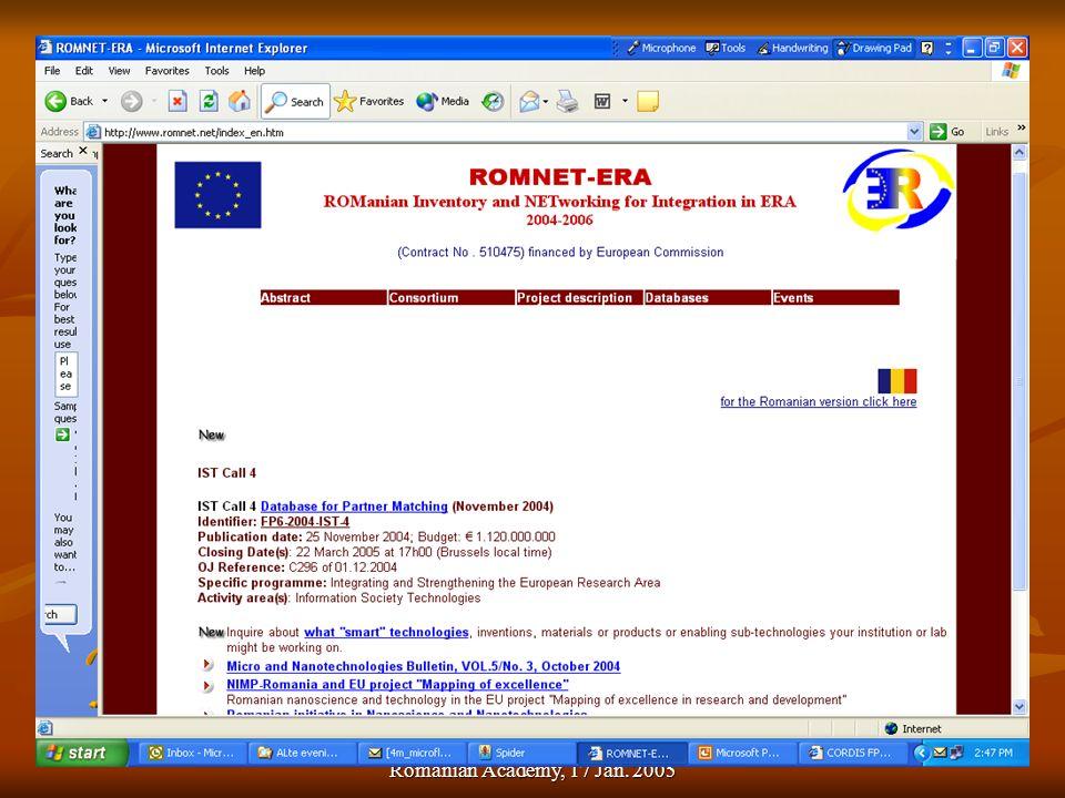 Dan Dascalu. Info-day FP6/NMP, Romanian Academy, 17 Jan. 2005