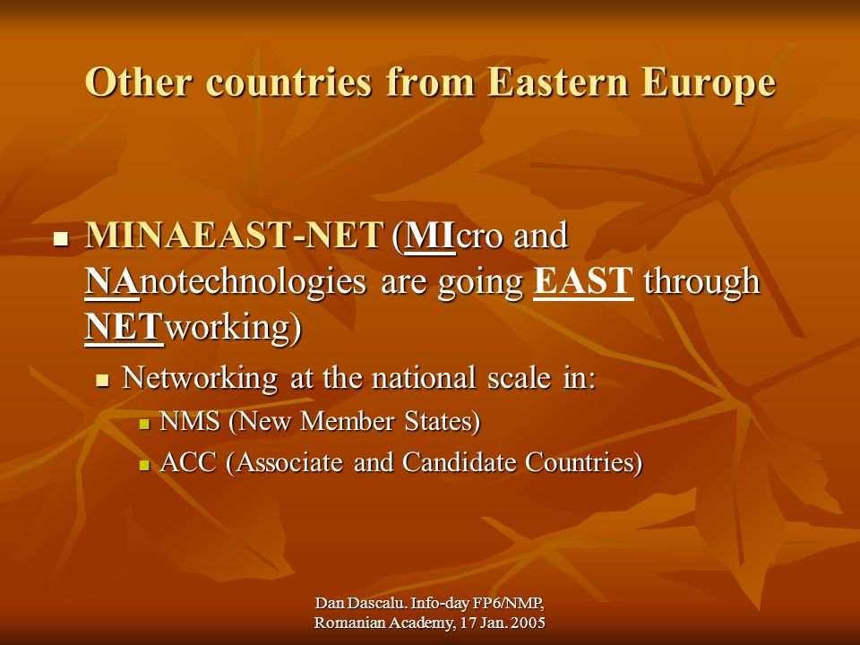 Dan Dascalu. Info-day FP6/NMP, Romanian Academy, 17 Jan. 2005 Other countries from Eastern Europe MINAEAST-NET (MIcro and NAnotechnologies are going t