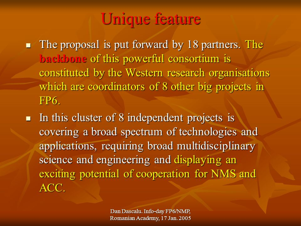 Dan Dascalu. Info-day FP6/NMP, Romanian Academy, 17 Jan. 2005 Unique feature The proposal is put forward by 18 partners. The backbone of this powerful