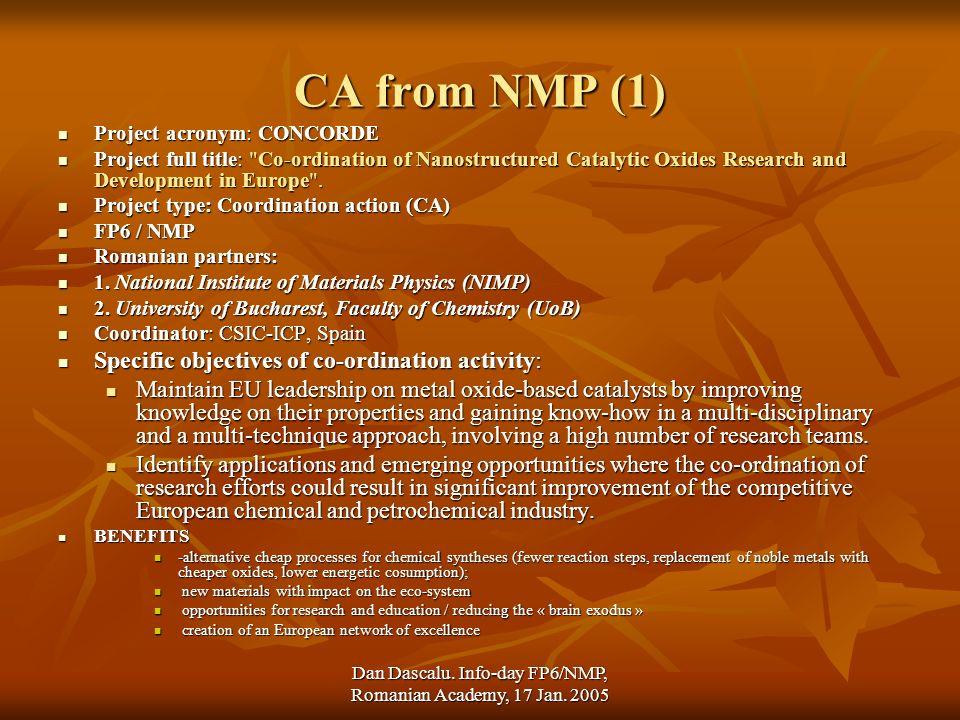 Dan Dascalu. Info-day FP6/NMP, Romanian Academy, 17 Jan.
