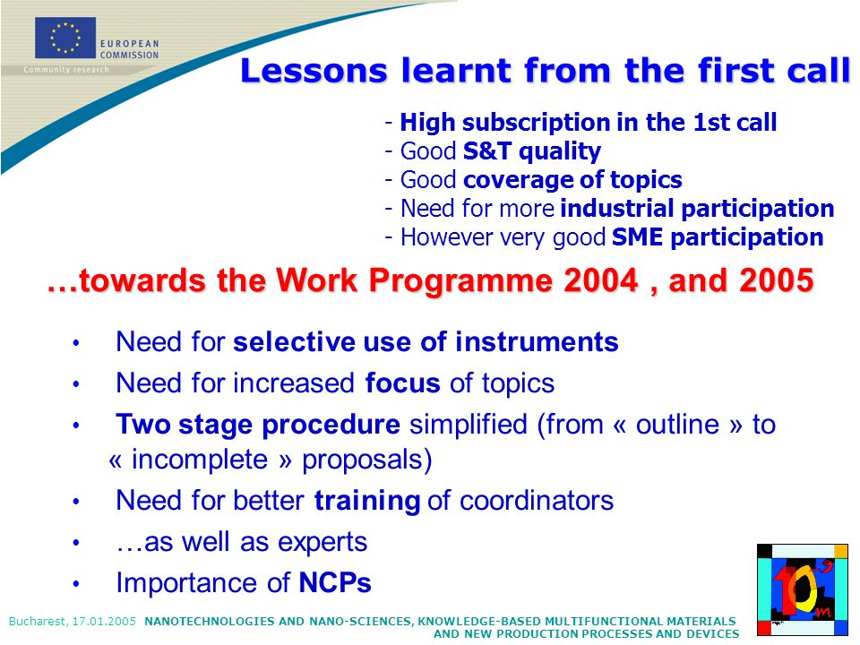 NANOTECHNOLOGIES AND NANO-SCIENCES, KNOWLEDGE-BASED MULTIFUNCTIONAL MATERIALS AND NEW PRODUCTION PROCESSES AND DEVICES Bucharest, 17.01.2005 Need for