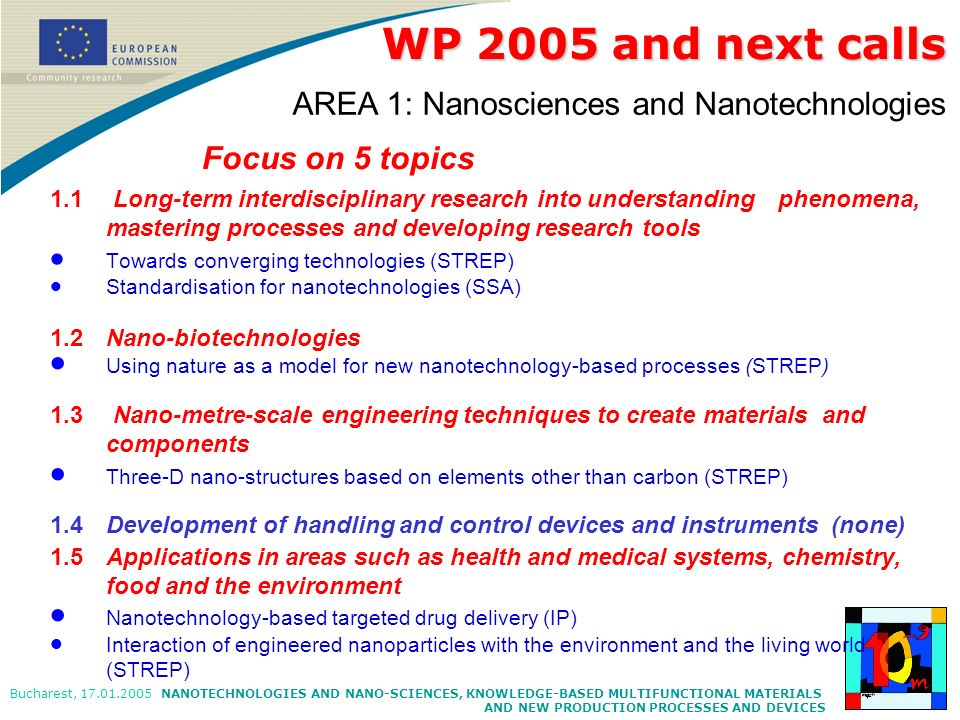NANOTECHNOLOGIES AND NANO-SCIENCES, KNOWLEDGE-BASED MULTIFUNCTIONAL MATERIALS AND NEW PRODUCTION PROCESSES AND DEVICES Bucharest, 17.01.2005 Focus on