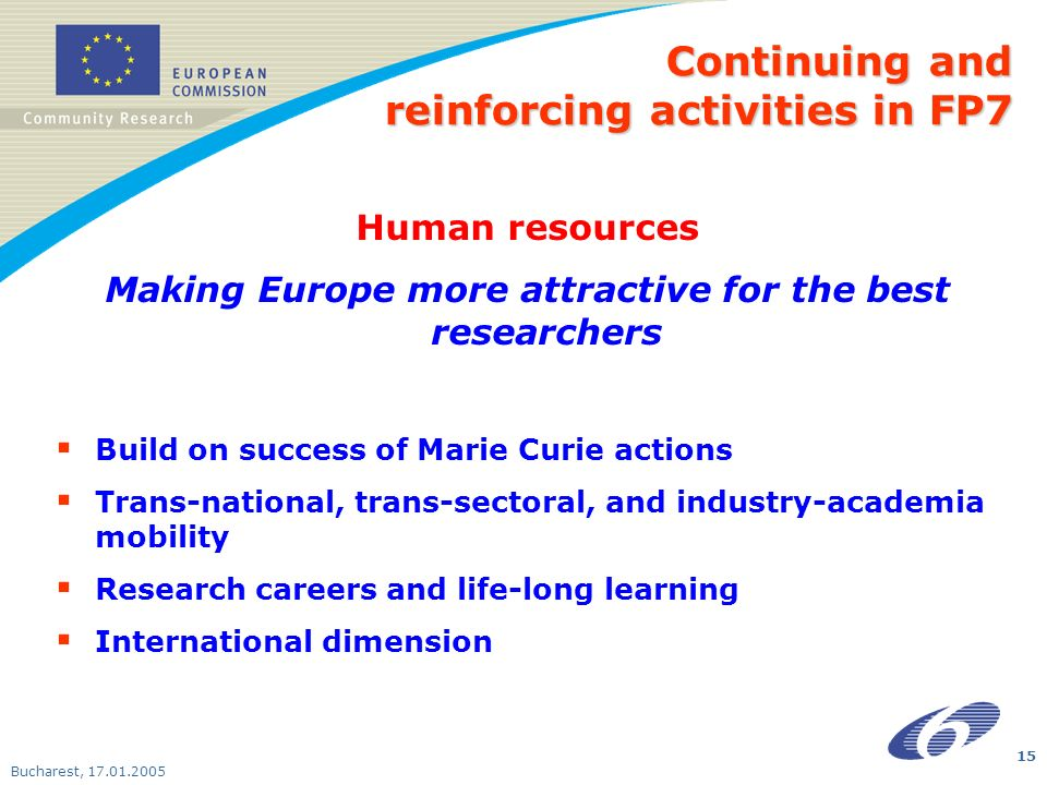 Bucharest, Human resources Making Europe more attractive for the best researchers Build on success of Marie Curie actions Trans-national, trans-sectoral, and industry-academia mobility Research careers and life-long learning International dimension Continuing and reinforcing activities in FP7