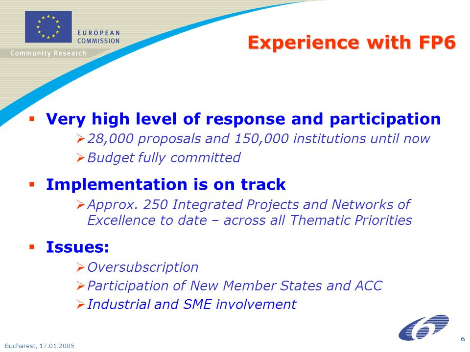 Bucharest, 17.01.2005 6 Experience with FP6 Very high level of response and participation 28,000 proposals and 150,000 institutions until now Budget f