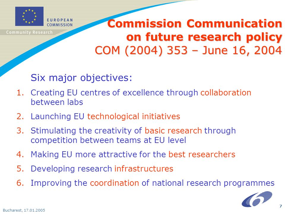 Bucharest, Six major objectives: 1.Creating EU centres of excellence through collaboration between labs 2.Launching EU technological initiatives 3.Stimulating the creativity of basic research through competition between teams at EU level 4.Making EU more attractive for the best researchers 5.Developing research infrastructures 6.Improving the coordination of national research programmes Commission Communication on future research policy COM (2004) 353 – June 16, 2004