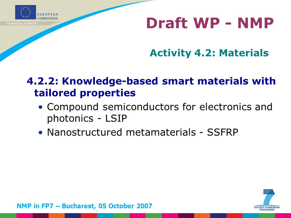 NMP in FP7 – Bucharest, 05 October 2007 Activity 4.2: Materials 4.2.2: Knowledge-based smart materials with tailored properties Compound semiconductor