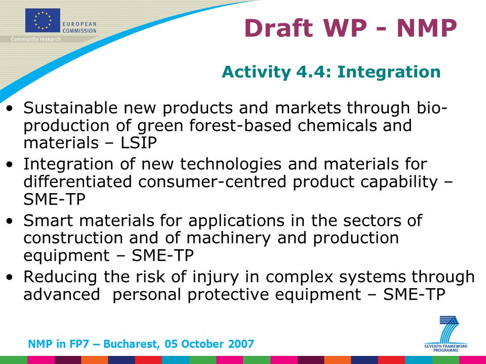 NMP in FP7 – Bucharest, 05 October 2007 Activity 4.4: Integration Sustainable new products and markets through bio- production of green forest-based c