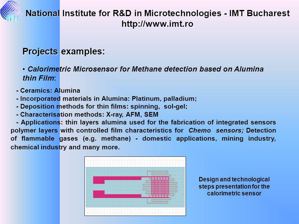 National Institute for R&D in Microtechnologies - IMT Bucharest http://www.imt.ro Projects examples: Calorimetric Microsensor for Methane detection ba
