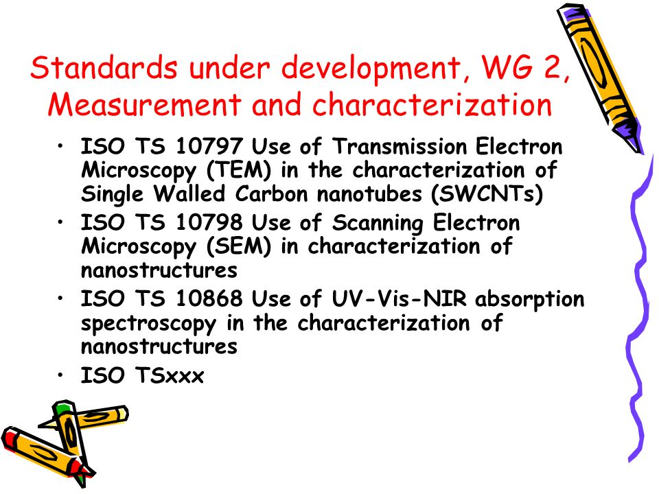 Standards under development, WG 2, Measurement and characterization ISO TS 10797 Use of Transmission Electron Microscopy (TEM) in the characterization of Single Walled Carbon nanotubes (SWCNTs) ISO TS 10798 Use of Scanning Electron Microscopy (SEM) in characterization of nanostructures ISO TS 10868 Use of UV-Vis-NIR absorption spectroscopy in the characterization of nanostructures ISO TSxxx