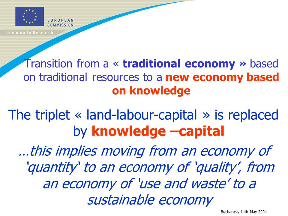 Bucharest, 14th May 2004 Transition from a « traditional economy » based on traditional resources to a new economy based on knowledge The triplet « la