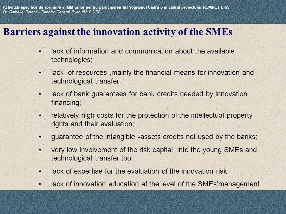 4 Activitati specifice de sprijinire a IMM-urilor pentru participarea la Programul Cadru 6 in cadrul proiectului ROMNET-ERA Dr.